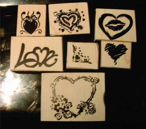 Rubber stamps, hearts, love