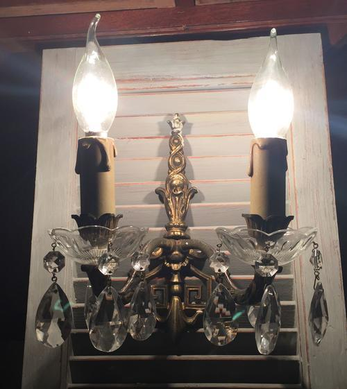 Vintage Crystal Wall Lights : Wall Lighting - Vintage brass and crystal glass wall sconce light was sold for R695.00 on 2 Jun ...