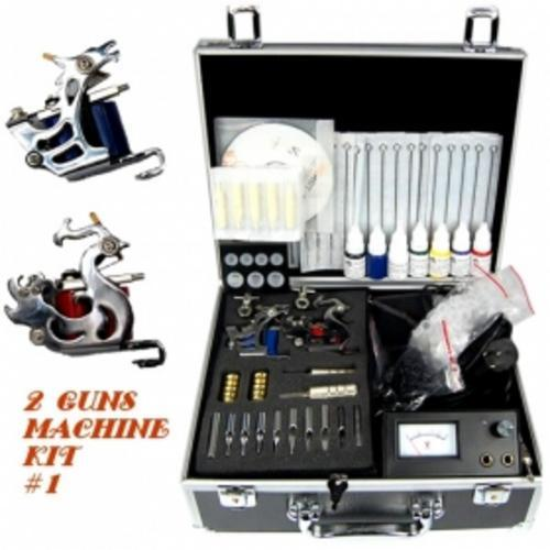 This peerless tattoo kit includes two stainless steel tattoo guns, needles,