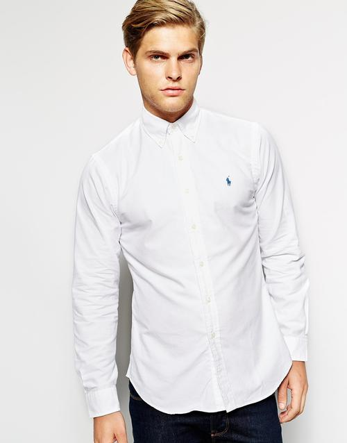 shirts polo ralph lauren oxford shirt in slim fit white. Black Bedroom Furniture Sets. Home Design Ideas