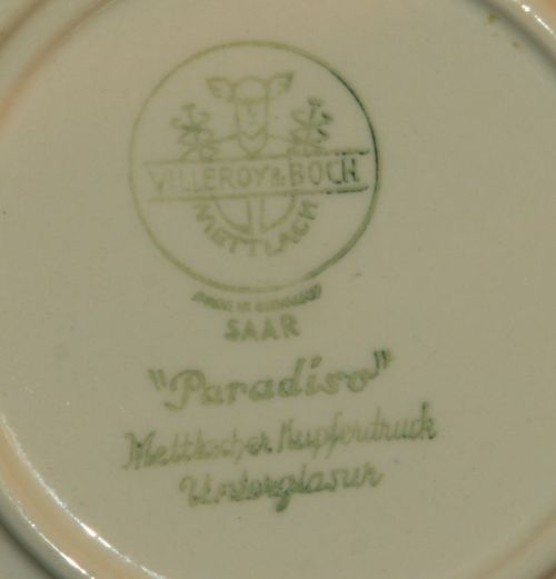 Villeroy Boch Made In Germany: VILLEROY & BOCH METTLACH:(1 Of 3) 1940