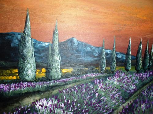 close up of 'lavender field at sunset' by cherie dirksen