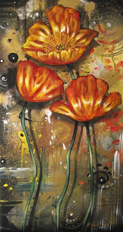 Orange poppies by Cherie Dirksen Original Painting
