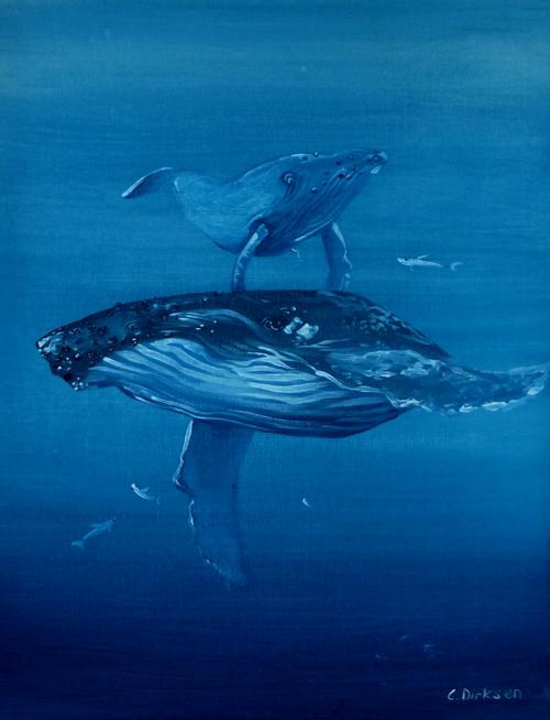 Whales - Cherie Dirksen original painting mammals marine life cetacean