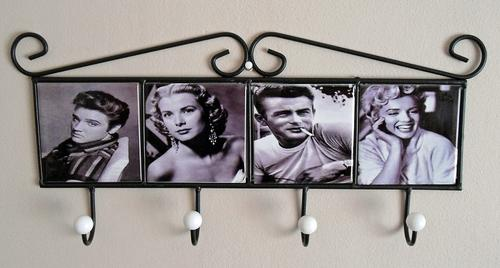 Hollywood Legends (Elvis, Marilyn, James and Grace) Photo's Printed on 4 x Ceramic Tiles Inserts (10cmx10cm tile) beautifully displayed in a Wrought Iron Wall Hanging Rack