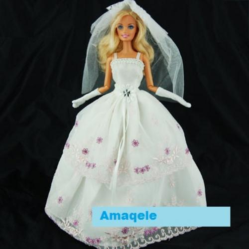 Barbie Clothes Handmade Wedding Dress with purple Flowers Veil and Gloves