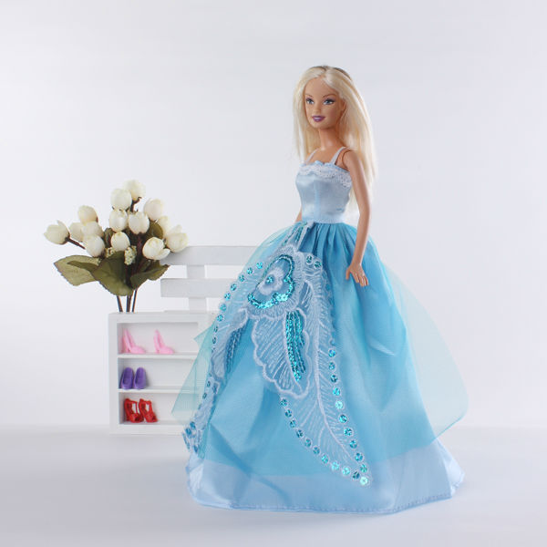Clothing - Barbie Runway Clothes, Handmade, Blue Evening Dress Gown ...