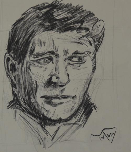sketch, charcoal, man
