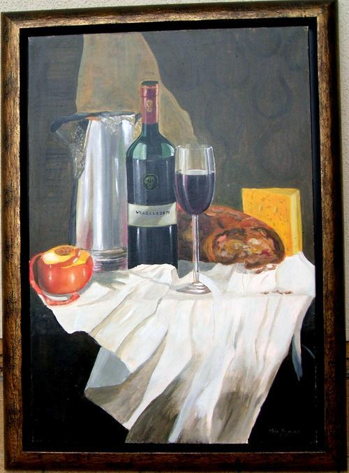 vergelegen,wine,mike taljaard,oil on canvas, realism
