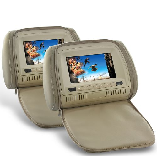 7 Inch Headrest DVD Player with Gaming System and FM Transmitter (Tan Pair)