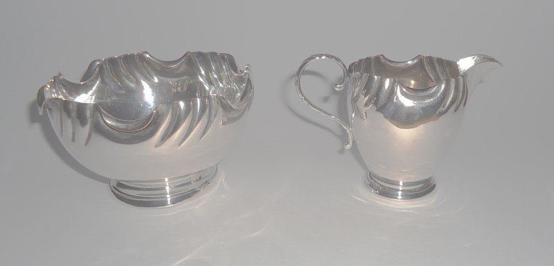 SILVER MILK JUG AND SUGAR BOWL
