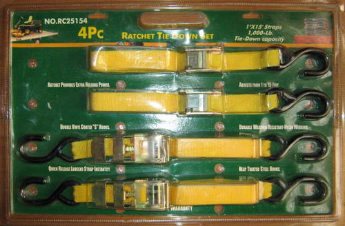 4 PIECE RATCHET TIE DOWN SET