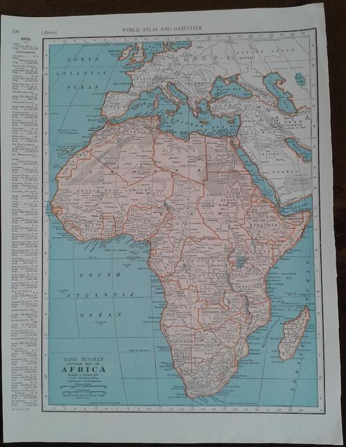 Maps 1947 Map of Africa Excellent condition Original McNally Map was list
