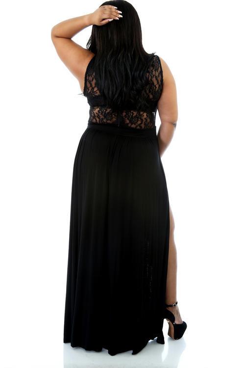 Plus Size Black Lace Maxi Dress 53