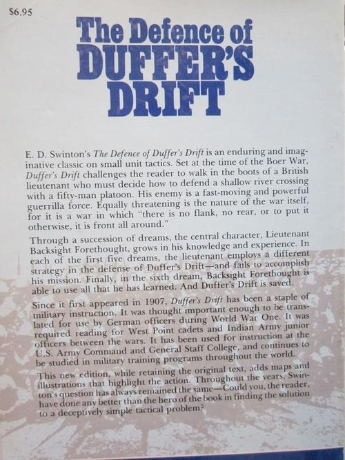 the defense of duffers drift book report The defence of duffer's drift journalists were not allowed at the front and swinton's reports were the premise of the book is the defense of duffer's drift by.
