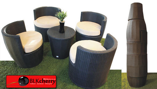 Poly Rattan 4 Seater Stackup - stack-able design for easy storage