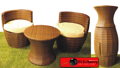 Rattan Brown 2 Seater with Coffee Table - stack-able design for easy storage
