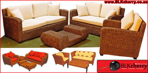 wicker water hyacinth lounge suites with cushions, durable,weatherproof, no maintanance
