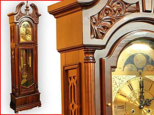 brand new 2.2 metre high grandfather clock wind up with pendulum and hourly chime