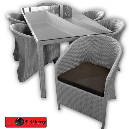 6 Seater Grey Poly Rattan Dining Table Set cushions included black glass top   Showroom open 7 days to collect or view once order is placed on the Bid or Buy system.