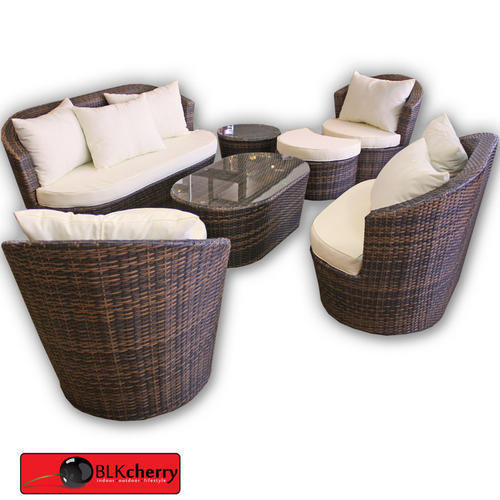 Brown Poly Rattan Outdoor Lounge Suite includes: - 1 x twin seater - 1 x triple seater - 2 x single seater with foot rests - 2 x coffee tables - canvas cushions