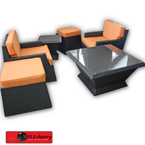 Black & Orange Poly Rattan Stackup - easy stackup storage - 6 piece set - includes cushions - includes coffee table with glass top - durable poly rattan finish. Waterproof and UV resistant
