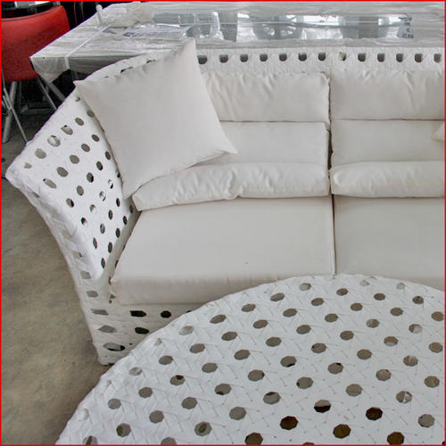 White Poly Rattan Lounge Set - 5 piece set includes: - 2 x single seater with cushions - 1 x triple seater with cushions - 1 x coffee table - wide poly rattan weave