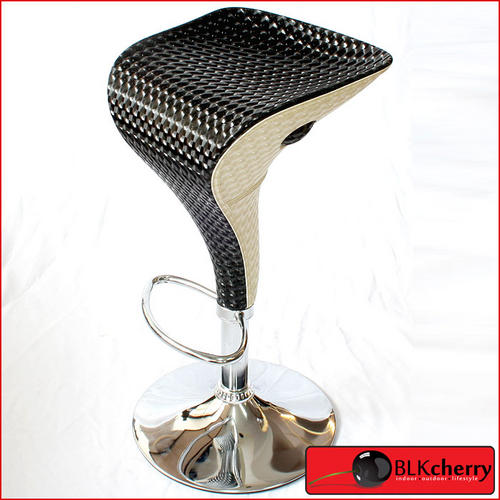 Carbon Black & Cream Bar-Stool - smooth carbon plastic finish - chrome base - foot rest