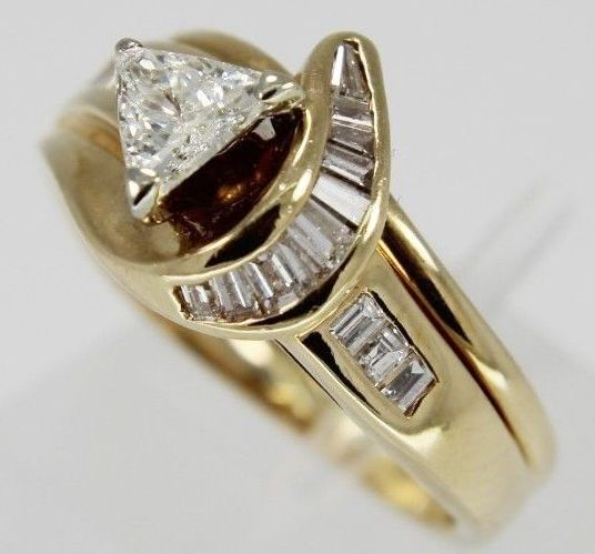 """Engagement Rings """"IN STOCK """" Estate 14Kt Yellow Gold Trillion a"""