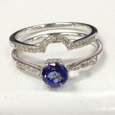 rings 2 wedding ring sets 7mm tanzanite