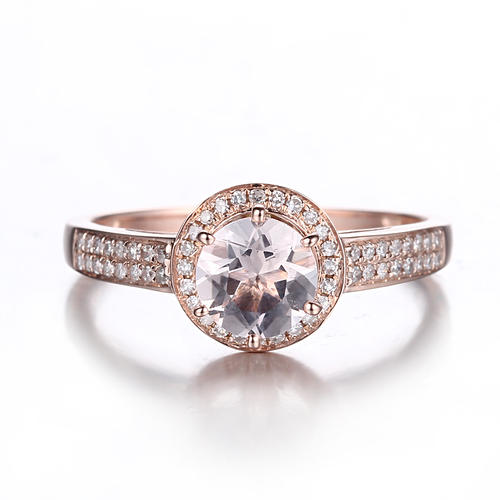 Engagement Rings IN STOCK Solid 10K Rose Gold 6MM ROUND Morganite