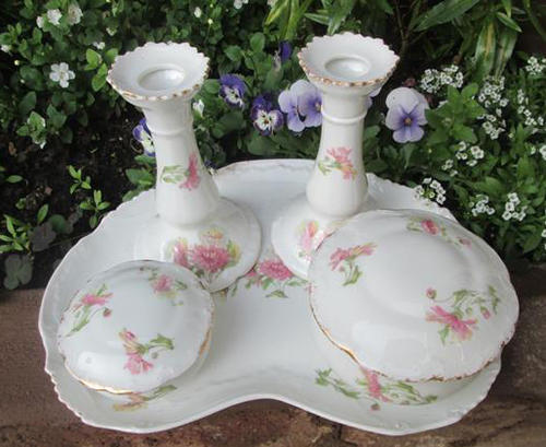 French porcelain 5 piece hand painted limoges fine for Dressing amenagement limoges