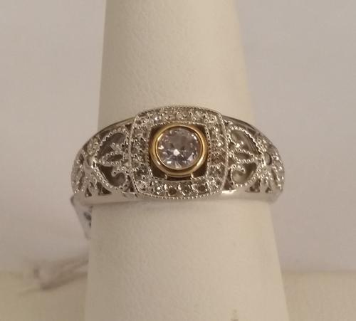 Rings Natural Diamond and Cubic Zirconia Engagement Ring in 9ct Yellow Gold