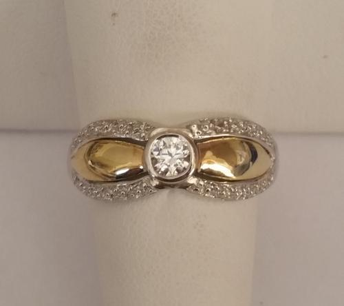 Rings Natural Diamond set in 9ct yellow gold and sterling silver engagement