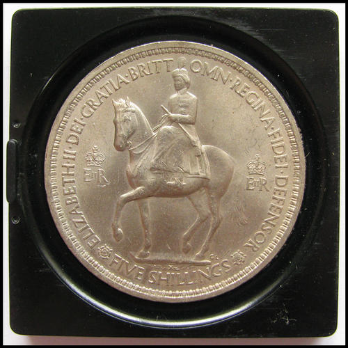 1955 Five Shilling Coin Value http://www.bidorbuy.co.za/item/32197873/Queen_Elizabeth_II_Coronation_Commemorative_5_Shilling_1953_complete_with_original_case.html