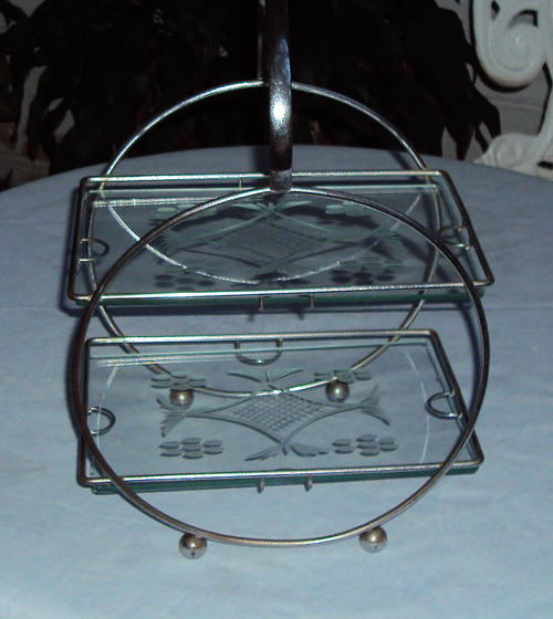 Glass - STUNNING ART DECO TWO TIER CAKE STAND~GLASS AND ...