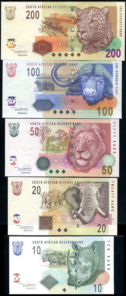 Uncirculated south african notes r10 r20 r50 r100 r200 p 128 129 132