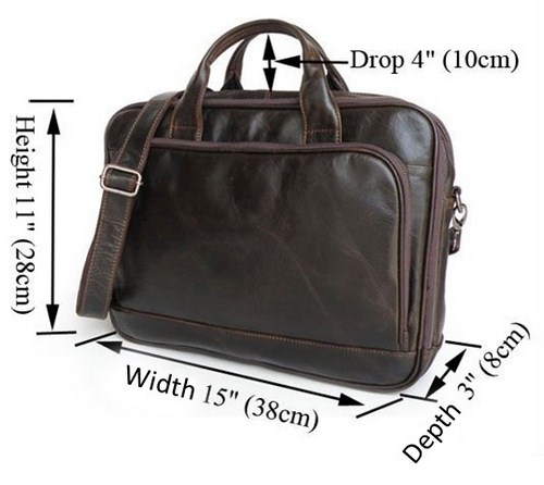Genuine Leather Laptop, Tablet PC, iPad, Samsung Galaxy Tab, Briefcase Shoulder Bag for Men