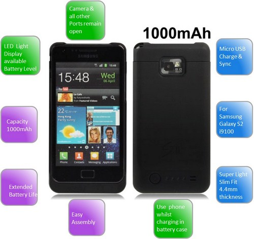 Extended Battery Power Pack Charger Case for Samsung Galaxy S2 i9100 - 1000mAh