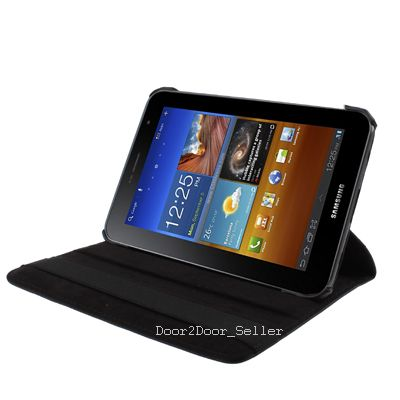 Leather Case for Samsung Galaxy Tab P6200, Full Black Cover Rotating Case for 7