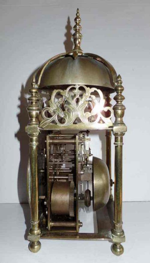 ANTIQUE WINTERHALDER & HOFMEIER BRASS AND IRON LANTERN CLOCK