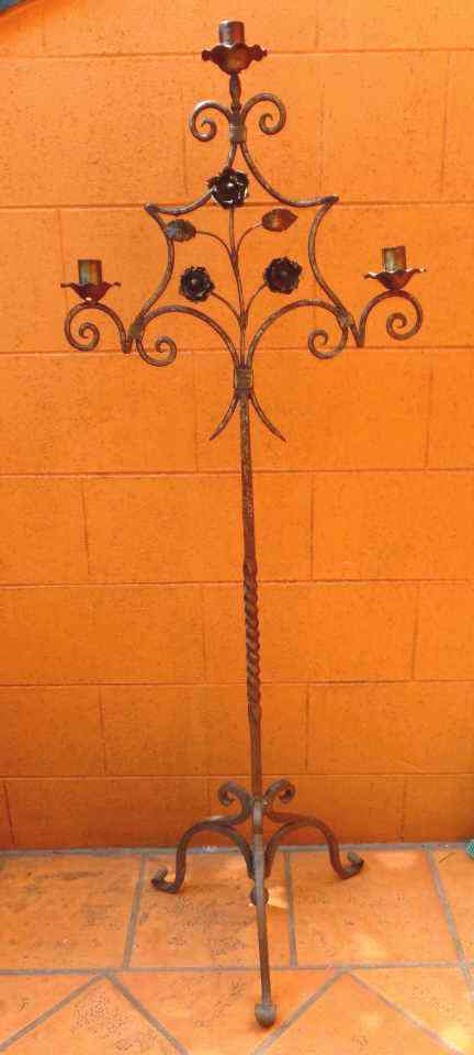 VINTAGE  WROUGHT IRON FLOOR CANDELABRA