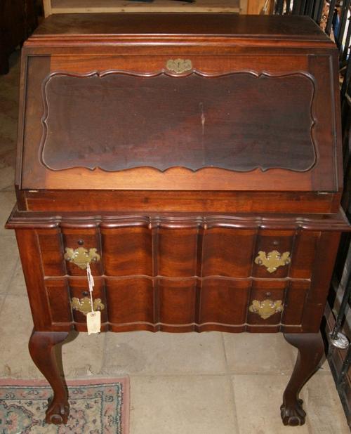 Cabinets Imbuia Ball Claw Linen Fold Writing Bureau