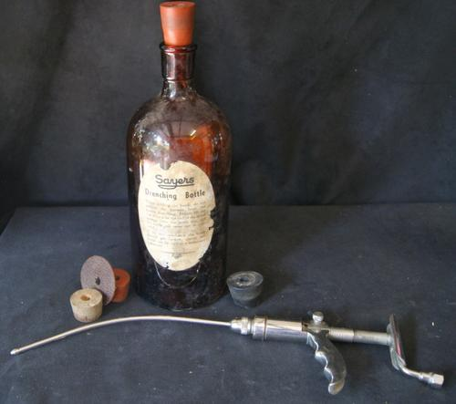 Vintage N.J Philips Sayers non-automatic Drench Gun and Drenching Bottle