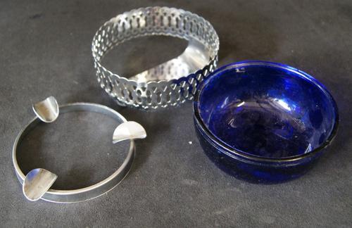 Vintage 3 Piece Blue Glass Bowl Ashtray