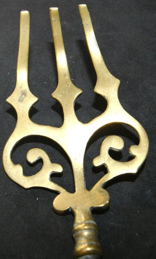 Vintage Antique Brass Saint Pauls Fire Poker Fork