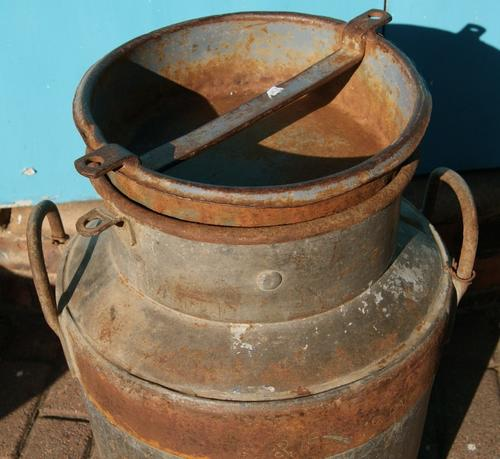 Vintage Afrikaskop Kaas Fabriek Metal Large Small Milk Churn or Can