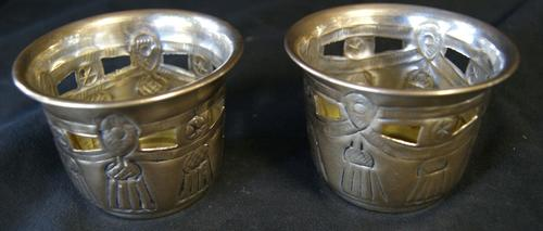 Pair of Pierced Brass Candle Holder Cups