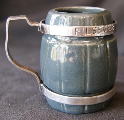 Vintage Pilsener Ceramic and Silver Plate Tankard