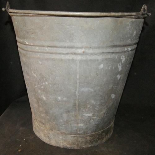 Vintage H&H Large Galvanized Metal Milking Bucket